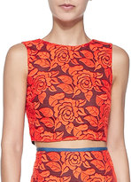 Nicole Miller Sleeveless Floral Lace Crop Top