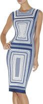 Herve Leger Adrianne Geometric Maze Texture-Blocked Dress
