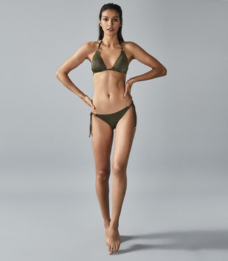 Reiss Lula - Metallic Triangle Bikini Top in Khaki