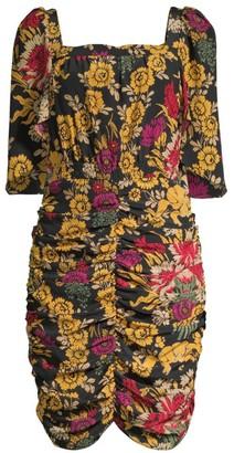Kobi Halperin Leandra Ruched Floral Silk Dress