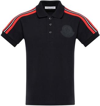 Moncler Girl's Short-Sleeve Pique Polo w/ Shoulder Stripes, Size 4-6