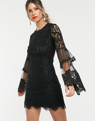 Forever U lace mini dress with bell sleeves in black