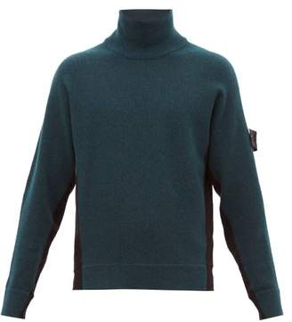 Stone Island Shadow Project - Funnel Neck Colour Block Sweater - Mens - Black