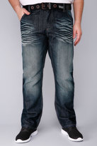 Yours Clothing HENLEYS Dark Blue Wash Denim Jeans With Belt