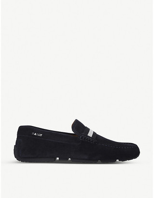 Bally Pearce grosgrain-trim suede loafers
