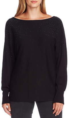 Vince Camuto Crystal Embellished V-Back Cotton Blend Sweater