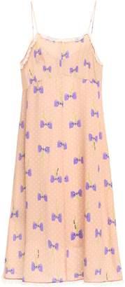 Miu Miu Lace-trimmed Printed Silk Crepe De Chine Slip Dress