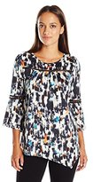 NY Collection Women's Petite Printed 3/4 Angle Sleeve Scoop Neck Knit Pullover with Trim At Front Yoke and Sleeves