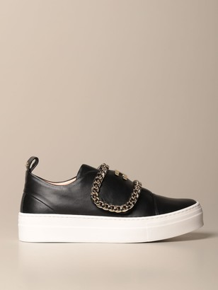 Elisabetta Franchi Leather Sneakers With Metal Chains