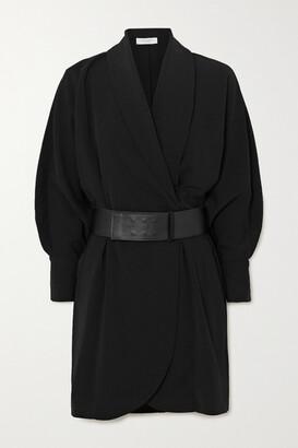 Equipment Corben Belted Wrap-effect Crepe Mini Dress