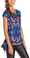 Wolfwhistle Wolf and Whistle Women's Blue and Orange Mirror Floral Tie Side Tops