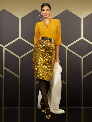 New York & Co. High-Waisted Gold Sequin-Front Skirt