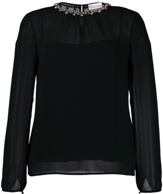 RED Valentino Crystal Collar Blouse