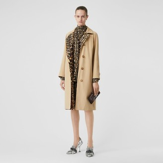 Burberry Leopard Print-lined Cotton Gabardine Car Coat