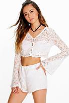 Boohoo Seren Lace Crop & Shorts Co-Ord Set