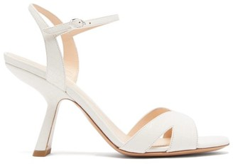 Nicholas Kirkwood Lexi Angled-heel Crocodile-effect Leather Sandals - Womens - White