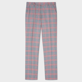 Paul Smith Men's Slim-Fit Grey And Pink Check Carlo Barbera Wool Trousers