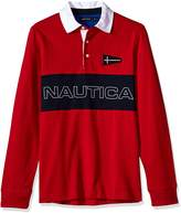 Nautica Men's Big-Tall Heritage Logo Long Sleeve Polo Shirt,