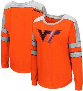 Colosseum Women's Orange Virginia Tech Hokies Trey Dolman Long Sleeve T-Shirt