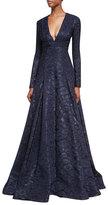 J. Mendel Deep V-Neck Fil Coupe Ball Gown, Blue