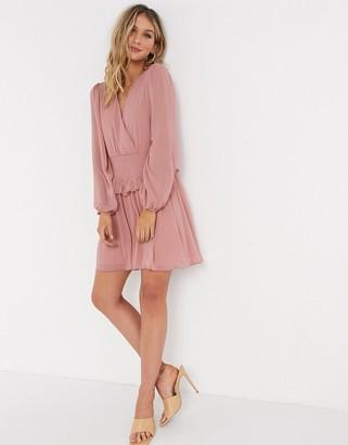 ASOS DESIGN wrap front shirred waist mini skater dress in dusky pink