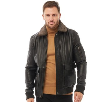 French Connection Mens Leather Flight Jacket Black