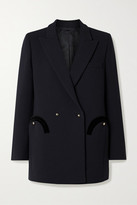 BLAZÉ MILANO Resolute Everyday Double-breasted Velvet-trimmed Wool-crepe Blazer - Midnight blue
