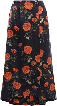 Mother of Pearl Wrap-effect Floral-print Silk-satin Midi Skirt