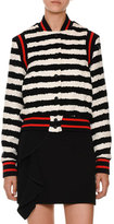 MSGM Knit Striped Bomber Jacket, Black