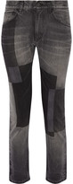 Facetasm Patchwork Low-rise Straight-leg Jeans - Dark gray