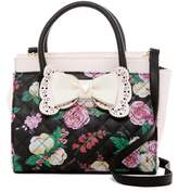 Betsey Johnson Painted Floral Lady Satchel