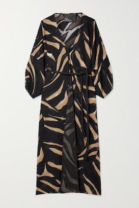 Lisa Marie Fernandez Net Sustain Adwoa Belted Zebra-print Devore-crepe Robe - Black