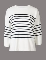 Marks and Spencer Cotton Blend Striped Round Neck Jumper