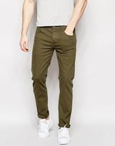 Asos Stretch Slim Jeans In Khaki