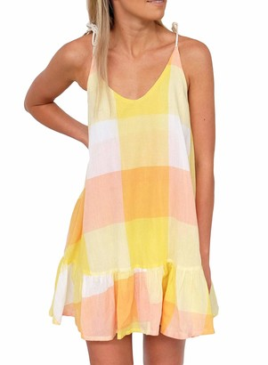 FIYOTE Women Cool Dress Fashion Summer Loose Fit Floral Sundress Yellow