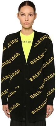 Balenciaga FLUO LOGO INTARSIA KNIT WOOL CARDIGAN