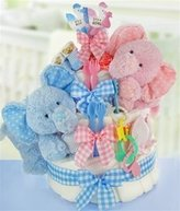 Cashmere Bunny Gingham & Giggles 3 Tier Twins Diaper Cake by 123BabyStore