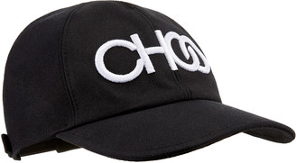 Jimmy Choo Ruth Black Canvas Baseball Cap with White CHOO logo