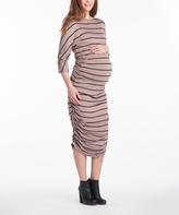 Taupe & Black Stripe Boatneck Maternity Midi Dress