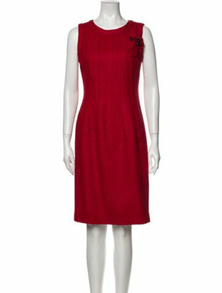 Oscar de la Renta Vintage Knee-Length Dress Red