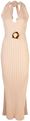 Nicholas Plunge Neck Ribbed Knit Dress