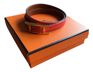 Hermã ̈S HermAs Hapi Orange Leather Bracelets