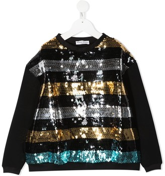 Sonia Rykiel Enfant Sequin-Embellished Striped Sweatshirt