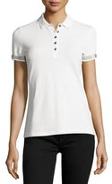 Burberry Slim-Fit Polo Shirt with Check Trim, White