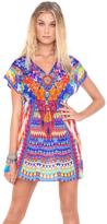 Luli Fama Tribal Beach Cap Sleeve Short Caftan In Multicolor (L455991)