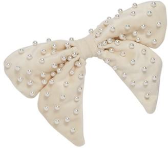 Lele Sadoughi Faux Pearl-Embellished Velvet Bow Barrette