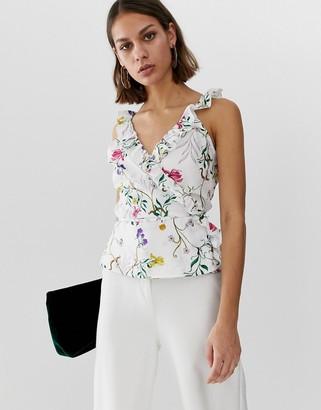 UNIQUE21 floral sleeveless wrap top-Multi