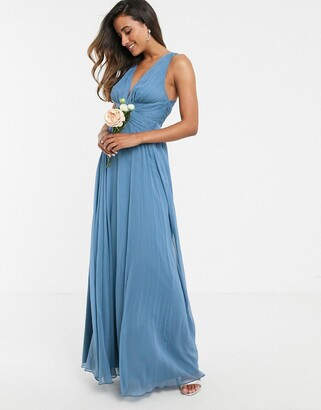 Asos Design DESIGN Bridesmaid ruched bodice drape maxi dress with wrap waist-Blue