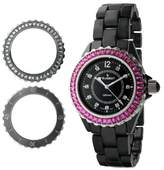 Peugeot Women's PS4900BK Ceramic Watch with Two Interchangeable Swarovski Crystal Bezel Covers