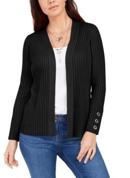 JM Collection Ribbed Button-Sleeve Cardigan, Created for Macy's